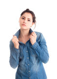 Attractive young brunette posing isolated Royalty Free Stock Images