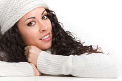Attractive young brunette smiling. On isolated white backgorund Royalty Free Stock Photography