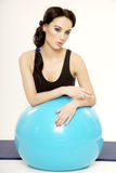 Woman with fitness ball Stock Photos
