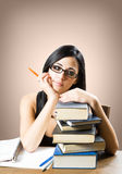 Attractive young brunette student. Portrait of an attractive young brunette student girl Stock Image
