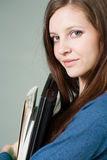 Attractive young brunette student girl. Stock Photography