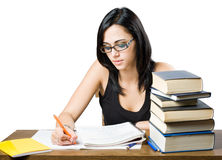 Attractive young brunette student girl. Stock Photo