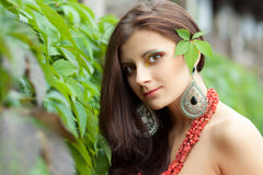 Attractive young brunette with unusual make up Royalty Free Stock Image