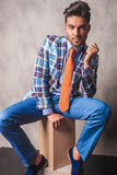 Attractive young business man sitting on a wood box. Stock Image