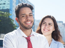 Attractive young business team in the city Stock Photo