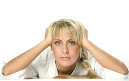 Attractive young business-woman 9. Thinking attractive young business-woman Royalty Free Stock Photography