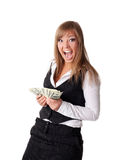 Attractive young business woman happy with money Royalty Free Stock Image