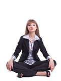 Attractive young business woman sit  in yoga asana Stock Images
