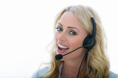 Free Attractive Young Business Woman Using A Telephone Headset Royalty Free Stock Image - 60222646