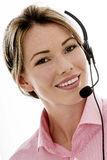 Attractive Young Business Woman Using a Telephone Headset Stock Photos