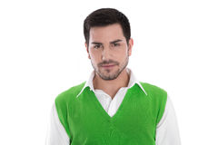 Attractive young businessman in a green shirt isolated on white Stock Images