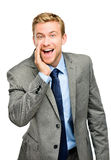 Attractive young businessman man shouting - isolated Royalty Free Stock Photos