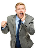 Attractive young businessman man shouting - isolated on white ba Royalty Free Stock Image