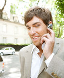 Businessman with ear set. Stock Image