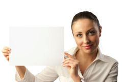 Attractive young businesswoman with copy space stock photo