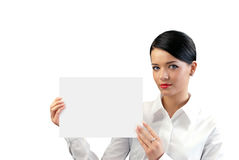 Attractive young businesswoman with copy space she stock photography
