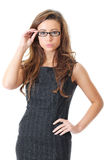 Attractive young businesswoman in elegant dress Royalty Free Stock Images