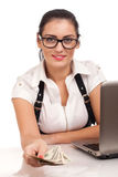 Attractive young businesswoman gives money Royalty Free Stock Photos