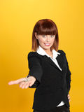 Attractive, young businesswoman holding house keys Royalty Free Stock Photos
