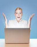 Attractive young businesswoman with laptop Royalty Free Stock Photography