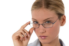 Attractive young businesswoman or student. With glasses, isolated on white Stock Images