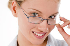 Attractive young businesswoman or student. With glasses, isolated on white Stock Photography