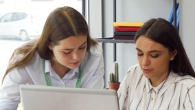 Two young businesswomen working on a computer together. Attractive young businesswoman working on a computer with her female colleague. Businesspeople at work at stock footage