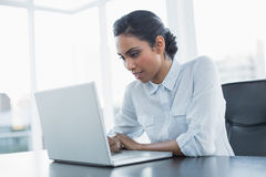 Attractive young businesswoman working using her laptop Royalty Free Stock Images