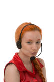 Attractive young call centre operator Stock Photo