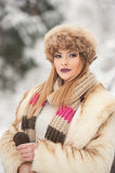 Attractive young Caucasian adult with brown fur cap. Beautiful blonde girl with gorgeous lips and eyes wearing fur hat, outdoor Royalty Free Stock Photography