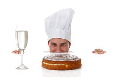 Attractive young caucasian man chef, temptation Stock Photos