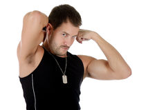 Attractive young caucasian man, muscles Royalty Free Stock Photo