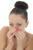Attractive Young Caucasian Woman Covering Her Mouth In Shock And Royalty Free Stock Image