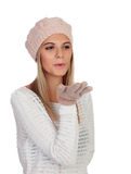 Attractive young caucasian woman in warm clothing in studio Royalty Free Stock Photos