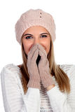 Attractive young caucasian woman in warm clothing in studio Stock Photography