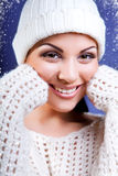 Attractive young caucasian woman in warm clothing.. Royalty Free Stock Photography