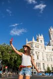 Attractive young woman taking a selfie in Madrid, Spain Stock Photos