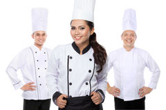 Attractive young chef team. Portrait of attractive young chef team isolated over white background royalty free stock images