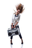 Attractive young cool hip hop dancer with boom box Royalty Free Stock Photos