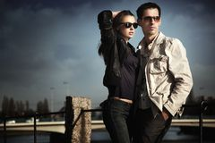 Attractive young couple. On the walk Stock Photography