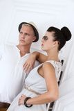 Attractive young couple in casual fashion outdoor in summer Royalty Free Stock Image