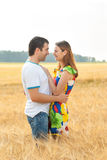 Attractive young couple embracing and kissing in the field. Royalty Free Stock Photos