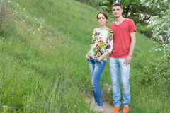 Attractive young couple enjoying a day in nature Royalty Free Stock Images