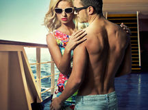 Attractive young couple on the ferry Royalty Free Stock Images