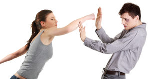 Attractive young couple fighting. Royalty Free Stock Photography