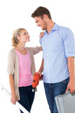 Attractive young couple holding diy tools Stock Image
