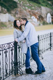 Attractive young couple hugging on the street Royalty Free Stock Images