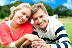 Attractive young couple in love. Great bonding. Attractive young couple in love. Holding hands. Nature background Stock Photos