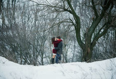 Attractive young couple in love in the snowy Park Stock Images