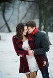 Attractive young couple in love in the snowy Park Royalty Free Stock Image